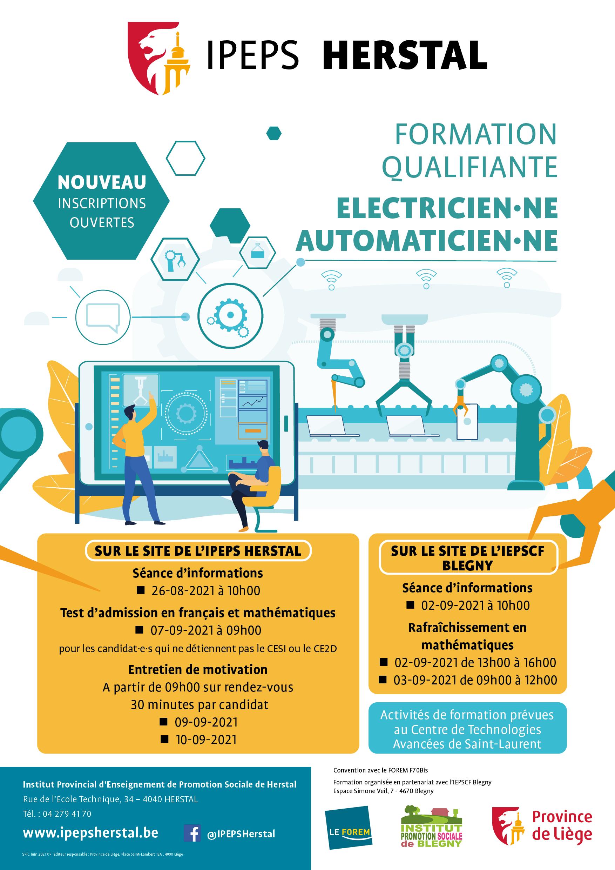 Affiche A3 électricien automaticien - IPEPS Herstal